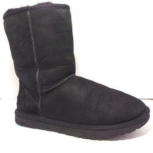 UGG 5825 Black Leather Classic Short Boots Sz 9
